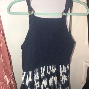 Blue and white crochet and tie-dye pattern dress